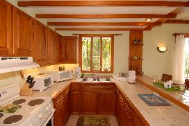 Beautifully appointed kitchen has ample space for cooking, and has a view of the rainforest and pool areas.